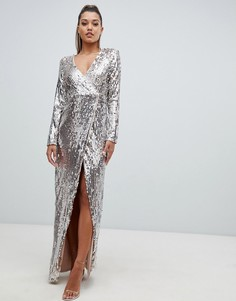 Платье макси с запахом и сплошной отделкой пайетками Club L - Золотой