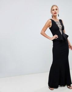 Платье макси со структурированной баской и отделкой City Goddess - Черный