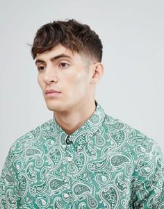 Зеленая приталенная рубашка с принтом пейсли Pretty Green - Зеленый