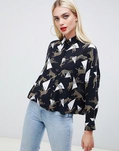 Укороченная рубашка с геометрическим и леопардовым принтом ASOS DESIGN - Мульти