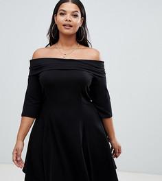 Короткое приталенное платье со спущенными плечами ASOS DESIGN Curve - Черный