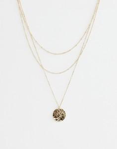 Ожерелье в несколько рядов с подвеской-монеткой Pieces - Золотой