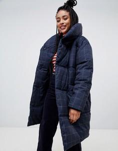 Длинная дутая куртка Monki - Темно-синий