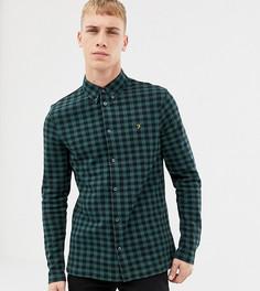 Зеленая трикотажная приталенная рубашка в клетку Farah Bobby - Зеленый