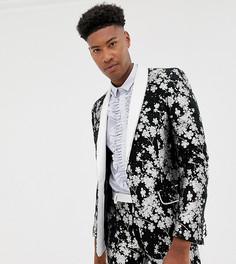 Приталенный жаккардовый пиджак-смокинг с монохромной цветочной отделкой ASOS EDITION Tall - Черный