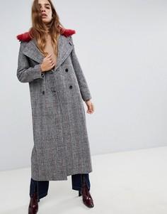 Длинное пальто из твида в клетку с воротником из искусственного меха Neon Rose - Серый