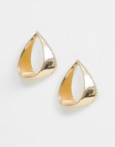 Золотистые серьги-гвоздики со стразами River Island - Золотой