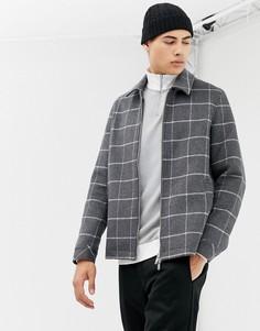 Куртка на молнии с добавлением шерсти в крупную клетку ASOS DESIGN - Серый