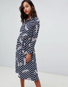 Платье-рубашка миди в полоску с принтом птиц Liquorish - Темно-синий