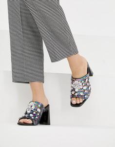 Босоножки на каблуке с отделкой ASOS DESIGN Harlequin - Мульти