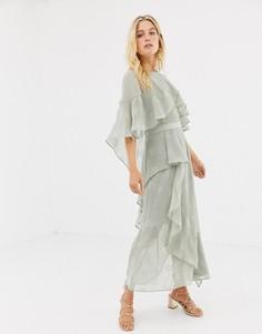 Платье миди с оборками Stevie May - Зеленый