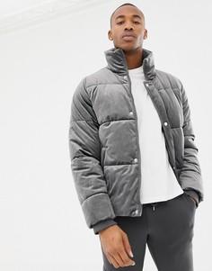 Серая бархатная дутая куртка River Island - Серый