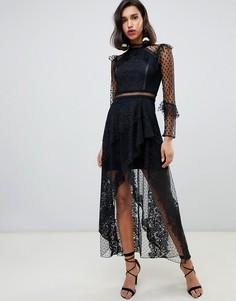 Черное кружевное платье макси River Island - Черный