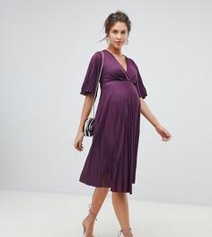 Плиссированное платье миди в стиле кимоно ASOS DESIGN Maternity - Фиолетовый