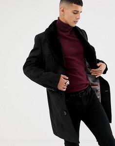 Жаккардовое пальто с эффектом металлик и искусственным мехом на воротнике Twisted Tailor - Черный