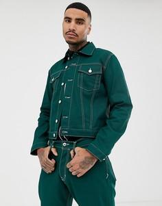 Джинсовая куртка из органического хлопка с контрастной строчкой Kings Of Indigo - Зеленый