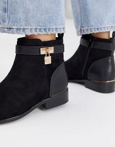 Черные ботинки на плоской подошве с замочками River Island - Черный