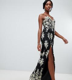 Черное платье макси для выпускного с глубоким вырезом и вышивкой золотистого цвета Chi Chi London Tall - Черный