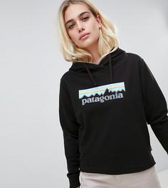 Худи черного цвета с логотипом в пастельных тонах Patagonia P-6 Uprisal - Черный