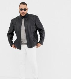 Кожаная байкерская куртка Jacamo Plus - Черный