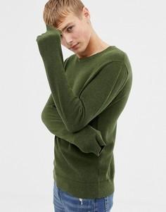 Зеленый меланжевый трикотажный джемпер из ткани пике с круглым вырезом J.Crew Mercantile - Зеленый