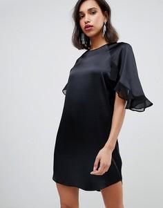 Свободное черное платье с оборками на рукавах River Island - Черный