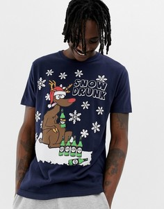 Новогодняя футболка с выпившим оленем Brave Soul - Темно-синий