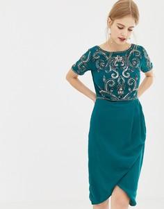 Короткое приталенное платье с декорированным верхом Frock & Frill - Зеленый