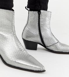 Серебристые кожаные ботильоны челси для широкой стопы ASOS DESIGN - Серебряный
