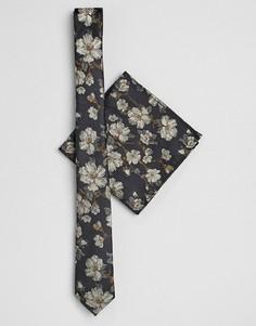 Черный галстук и платок-паше с цветочным принтом ASOS DESIGN - Темно-синий