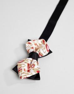Жаккардовый галстук-бабочка с цветочным узором ASOS DESIGN - Золотой