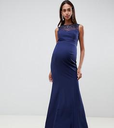 Темно-синее платье макси с отделкой Little Mistress Maternity - Темно-синий
