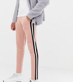 Розовые джоггеры скинни в стиле ретро с полосками по бокам ASOS DESIGN tall - Розовый