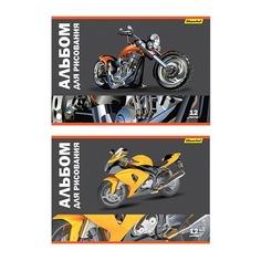 Альбом для рисования Silwerhof 911142-34/10 12л. A4 Мотоциклы 2диз. картон скрепка