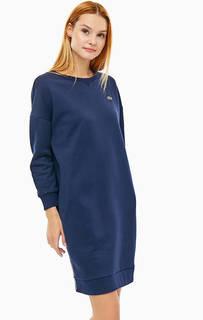Платье-свитшот из хлопка синего цвета Lacoste