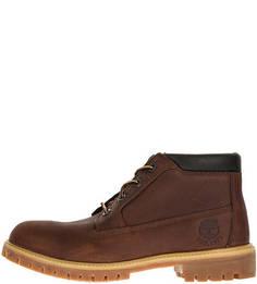 Коричневые кожаные ботинки на шнуровке Timberland