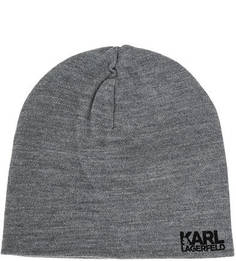 Полушерстяная серая шапка мелкой вязки Karl Lagerfeld