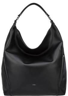 Вместительная кожаная сумка черного цвета Lady Furla