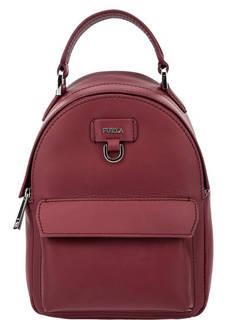 Маленький кожаный рюкзак бордового цвета Favola Furla