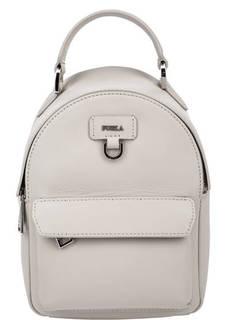Маленький кожаный рюкзак серого цвета Favola Furla