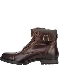 Утепленные кожаные ботинки на молнии и шнуровке Jack & Jones