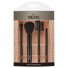 Набор мини-кистей для макияжа DE.CO. 4 шт для пудры и румян, теней, губ, бровей и ресниц Deco