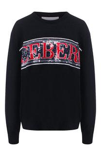 Шерстяной пуловер с логотипом бренда Iceberg