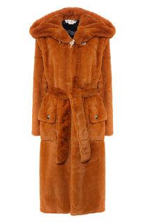 Пальто из эко-меха с поясом и капюшоном Golden Goose Deluxe Brand