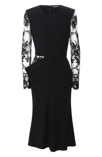 Приталенное платье с кружевными рукавами Alexander McQueen