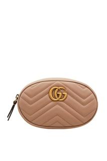 Розово-бежевая поясная сумка GG Marmont Gucci