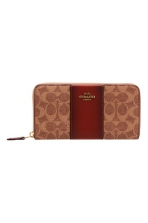 Бежево-коричневый кошелек на молнии Coach