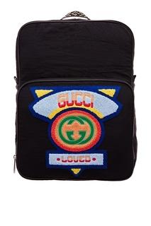 Черный рюкзак с патчем Gucci