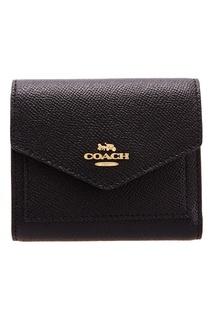 Черный кошелек с логотипом Soft wallet Coach