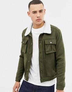 Куртка из искусственной замши с воротником из искусственного меха Another Influence - Зеленый
